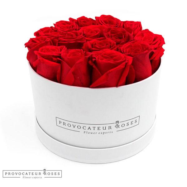 Caja redonda rosas frescas