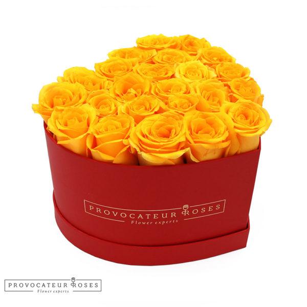 Caja corazon rosas frescas amarillas