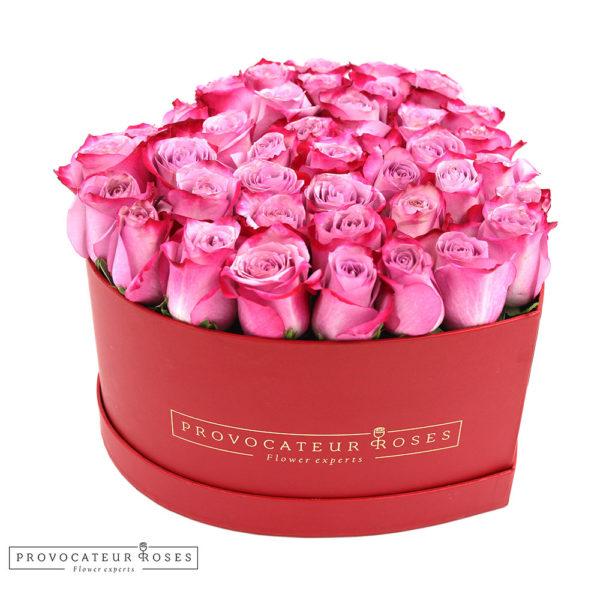 Caja corazon rosas frescas deep purple