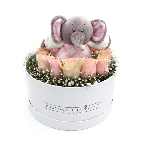 Caja de Rosas con Peluche de Niñas